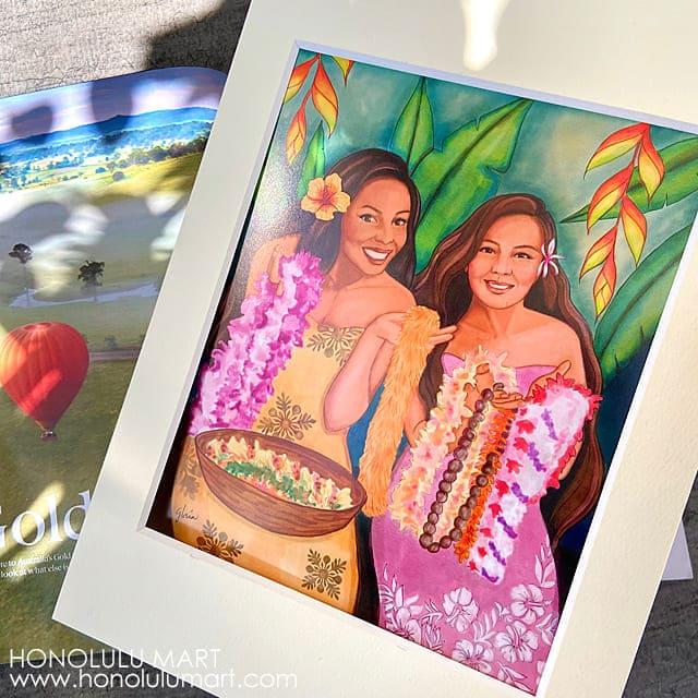 レイを販売するハワイの女性の絵3