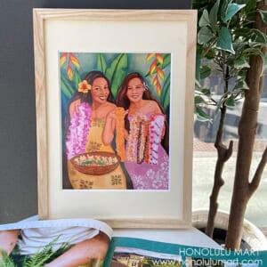 レイを販売するハワイの女性の絵4