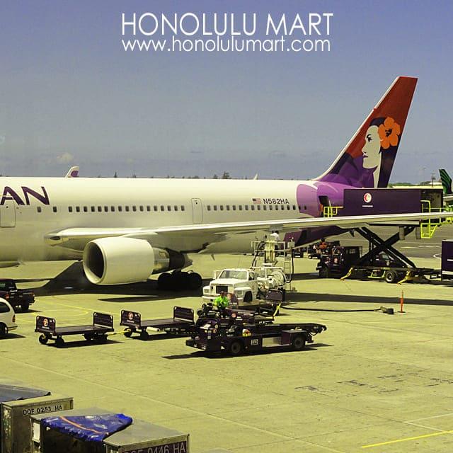 ハワイアン航空とホノルル空港の写真
