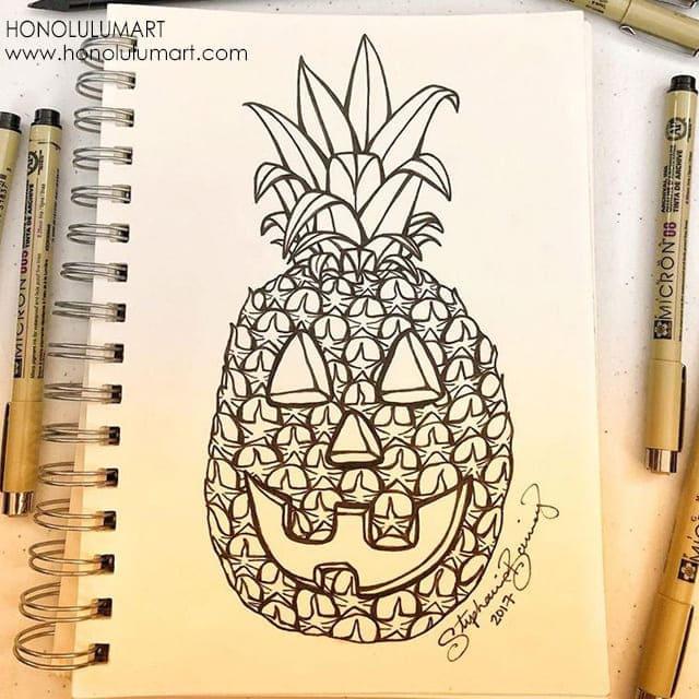 パイナップル・ランタン塗り絵の写真