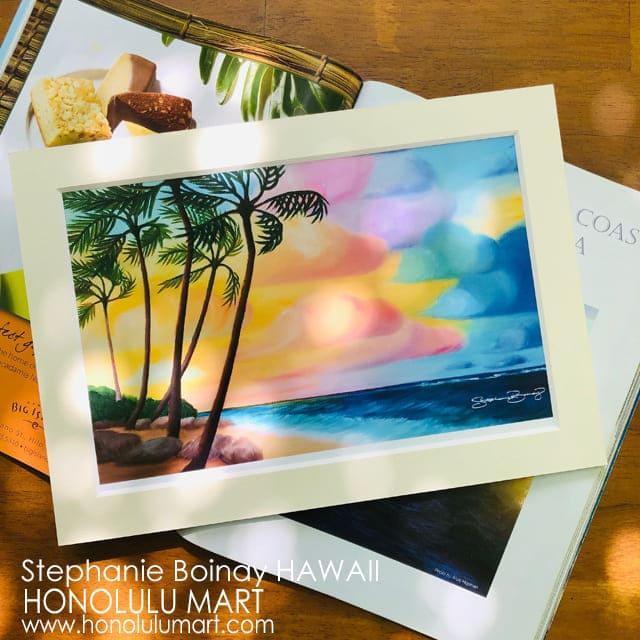 ハワイのビーチの夕焼け空の絵(ステファニー・ボイナイ)