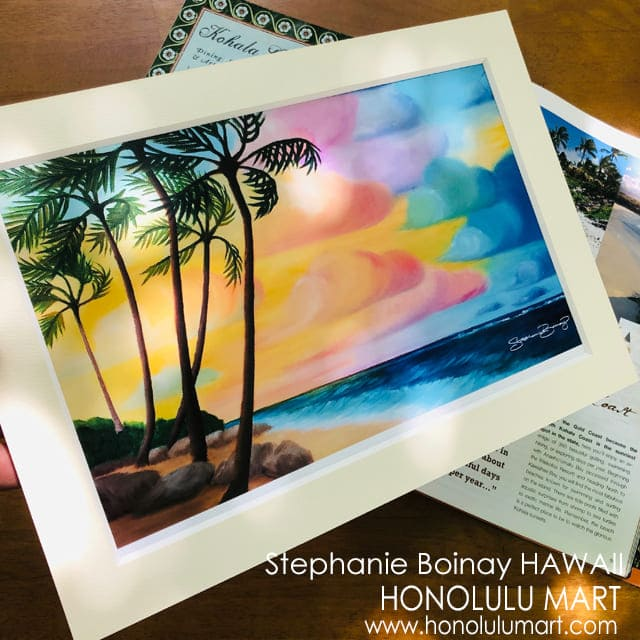 ハワイのビーチの夕焼け空の絵(ステファニー・ボイナイ)4