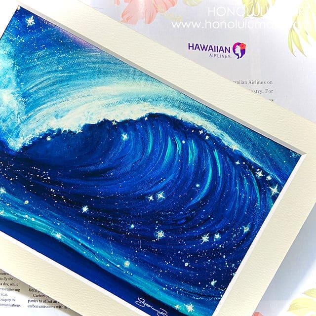 ハワイの星空と波の絵7