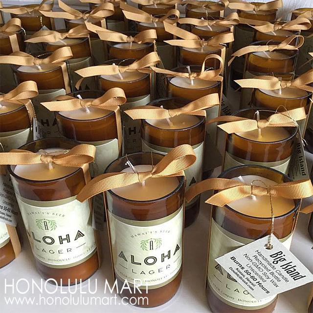 結婚式の引き出物の写真(ハワイのアロハビール瓶キャンドル)