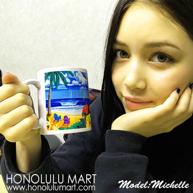 ハワイのビーチの絵柄のマグカップ10