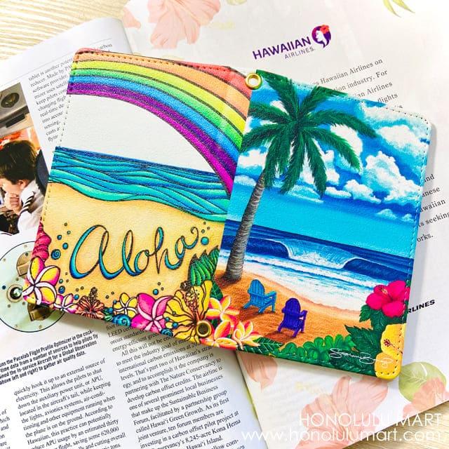 ハワイアン・パスポートケース(ワイキキとパイナップルガール柄)2