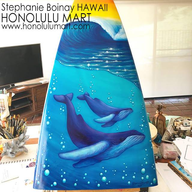 クジラの絵のサーフボード・ペインティング(ハワイのステファニー・ボイナイ)22
