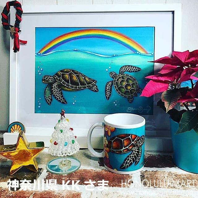 ホヌの絵とホヌのハワイアンマグカップ(神奈川県のお客さまの写真)14