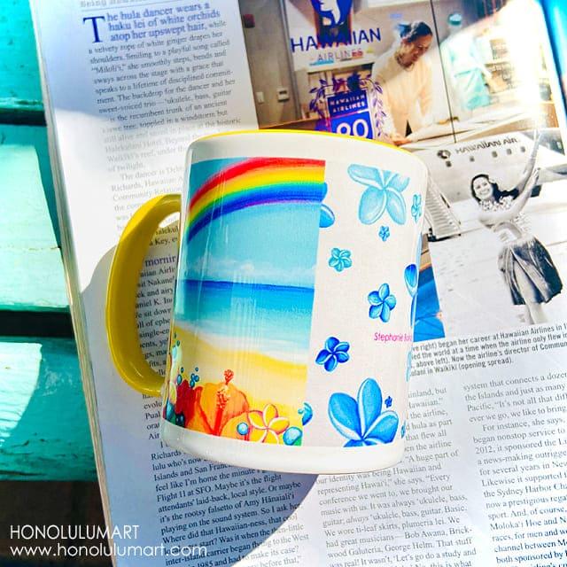 虹の絵柄のハワイアン・マグカップ