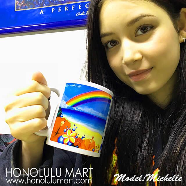虹の絵柄のハワイアン・マグカップ2