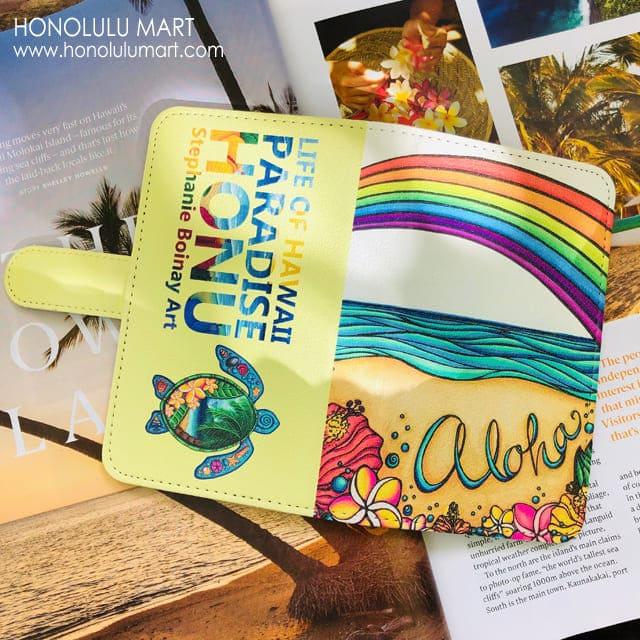 アロハ・ハワイとホヌの手帳型スマホケース1