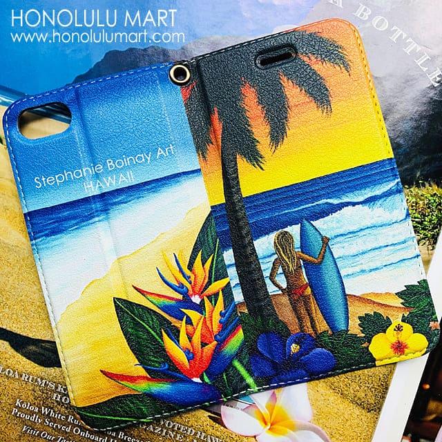 2つのビーチの絵柄のハワイアン手帳型iPhoneケース