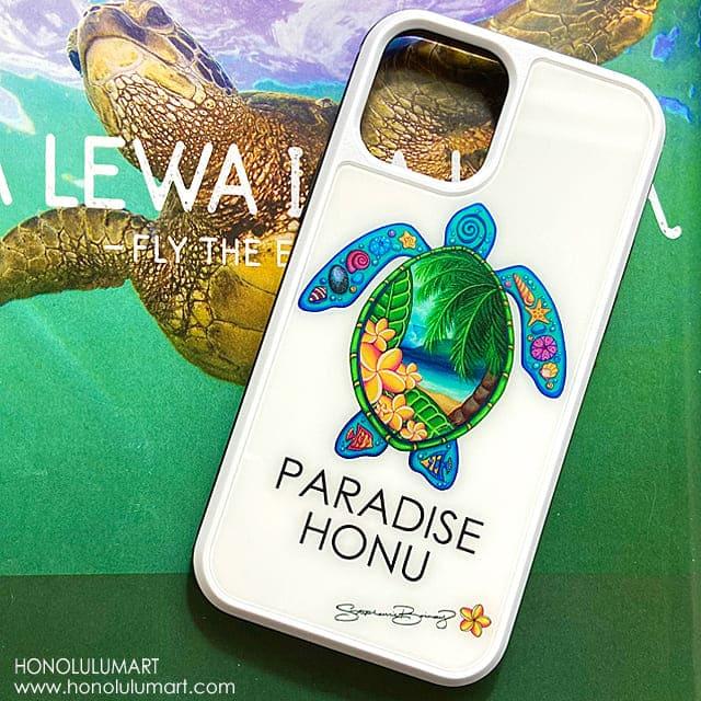 ホヌとハワイの景色のiPhoneケース
