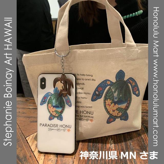 ハワイアン・ホヌのミニトートバッグとiPhoneケースの写真