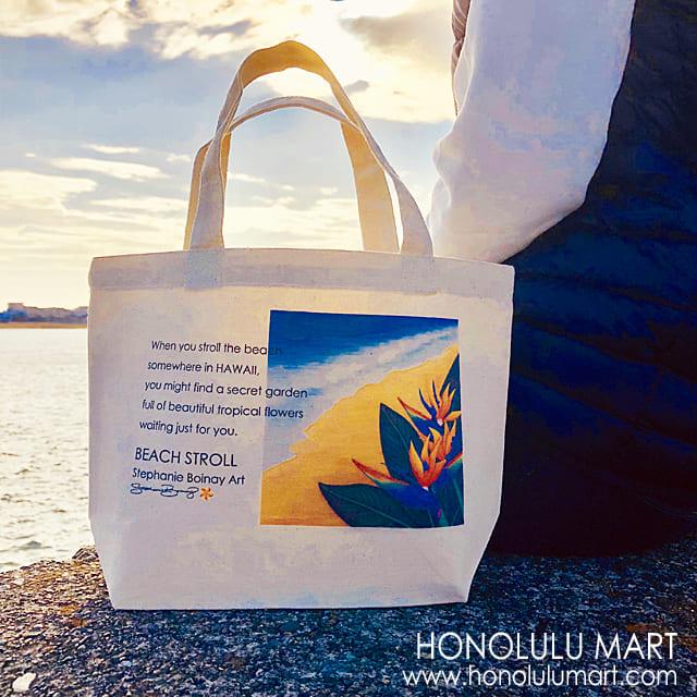 ハワイの花柄ミニトート(ストレリチア柄)