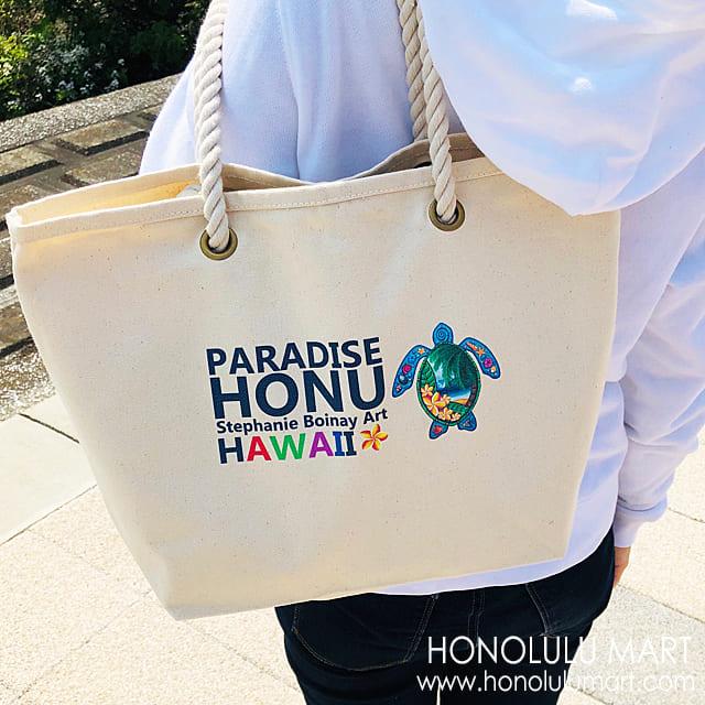 ハワイアン・ホヌ・ミニトートバッグ