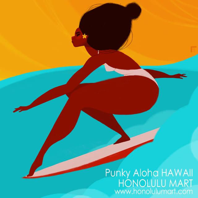 サーフクイーンの絵(ハワイのPunky Aloha)