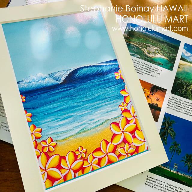 ハワイの海とプルメリアの絵2