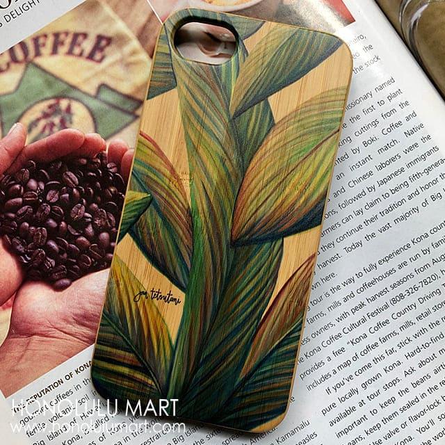 バナナの葉柄の木製iPhoneケース