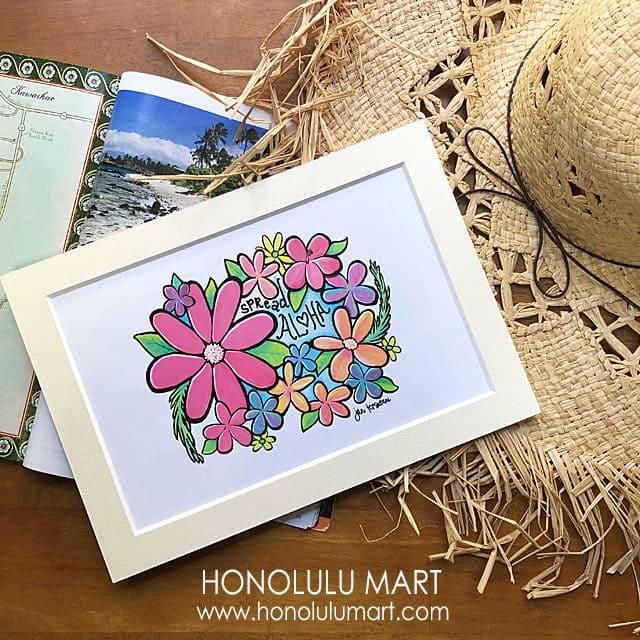 アロハとお花の絵(ハワイのジャン・テツタニ)1