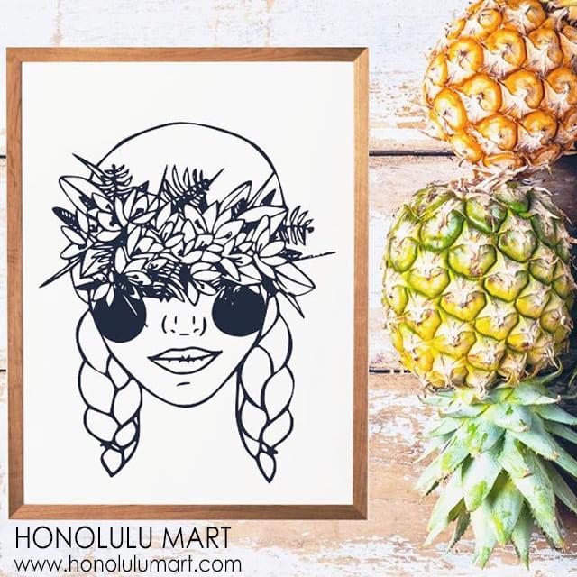 レイ・ガールの絵(ハワイのSUNNY WEEKS ART)