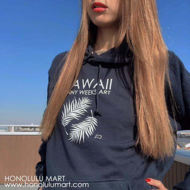 HAWAIIパーカー(ヤシの葉柄)ネイビー