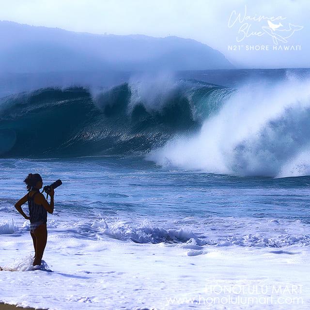 ノースショアの大波と写真家AKIMAさん