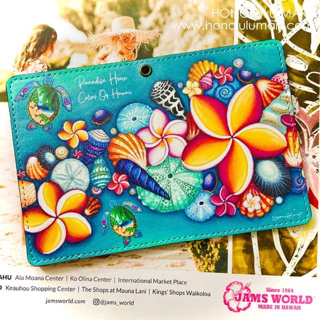 ハワイの花柄パスポートケース・定期券入れ