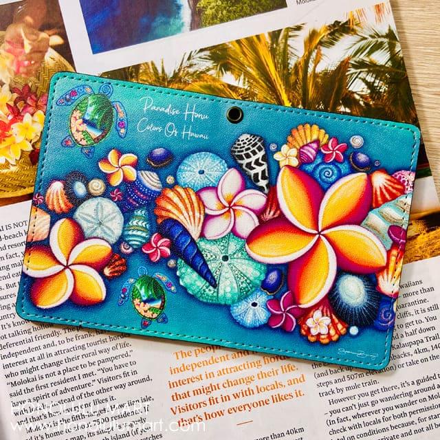 ハワイの花柄パスポートケース・定期券入れ1