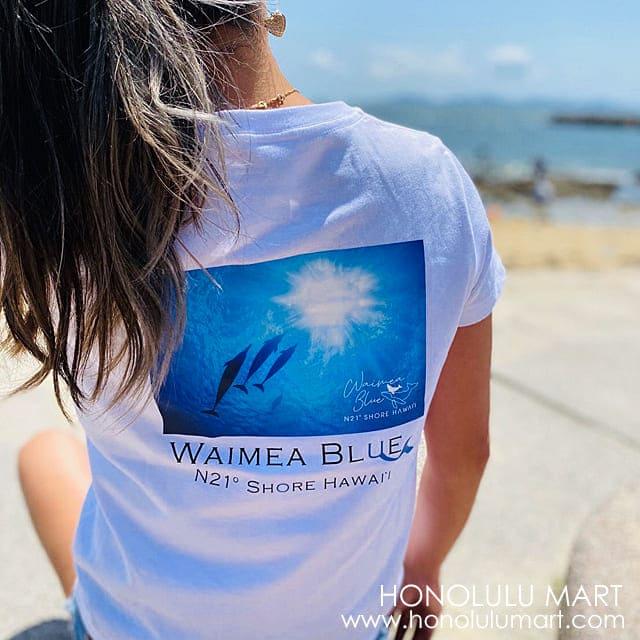 イルカの写真のハワイアンTシャツ(ワイメアブルー)