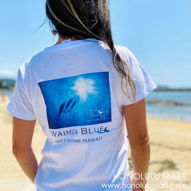 イルカの写真のハワイアンTシャツ(ワイメアブルー)1