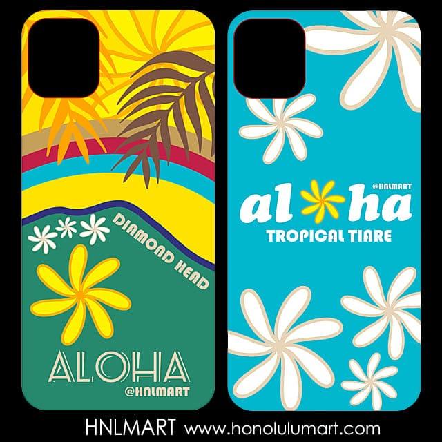 ダイヤモンドヘッドとティアレのお花のハワイアンiPhoneケース