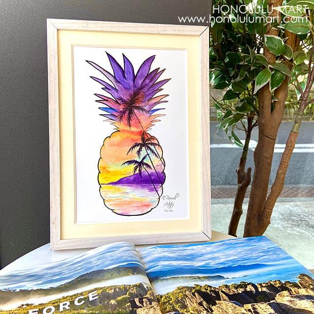 パイナップルと海景色の絵8