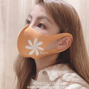 ティアレ柄ハワイアンマスク(オレンジ)1