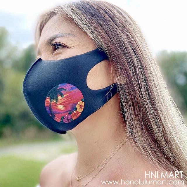 ワイルド・ハワイアン・スカイズ黒マスク(ビーチの絵柄)