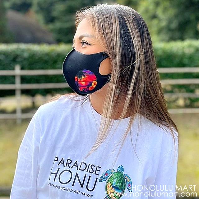 ワイルド・ハワイアン・スカイズ黒マスク(ビーチの絵柄)3