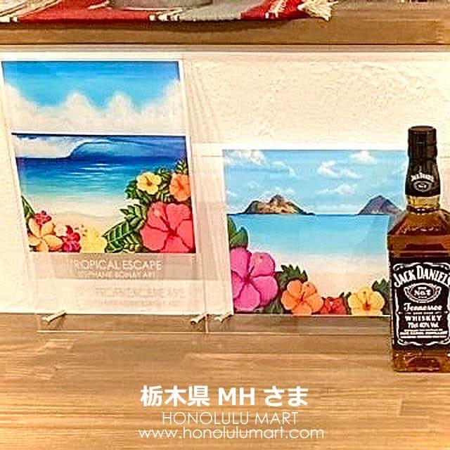 ラニカイビーチと波の絵のハワイアンアート・アクリルフレーム(ステファニー・ボイナイ)