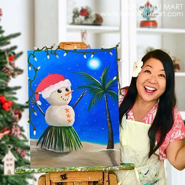 ジャン・テツタニさんと雪だるまのハワイアン・クリスマスアートの写真5