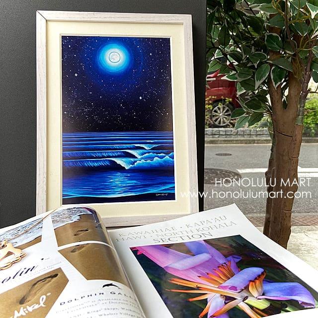 満月と星空の波のハワイアンアート1