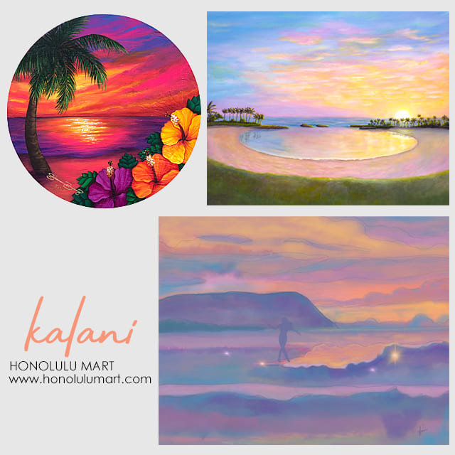 ハワイの空の絵kalaniアート
