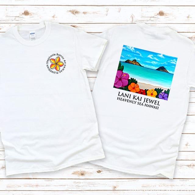 ラニカイビーチのハワイアンアートTシャツ