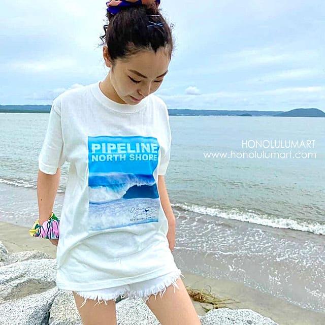 波の写真のサーフなハワイアンTシャツ1