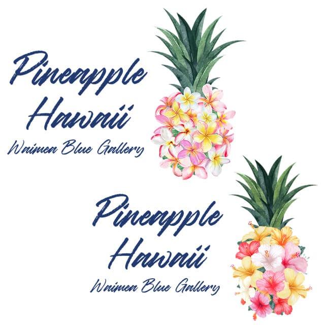 パイナップル・フラワーアート(ハワイのワイメアブルー)