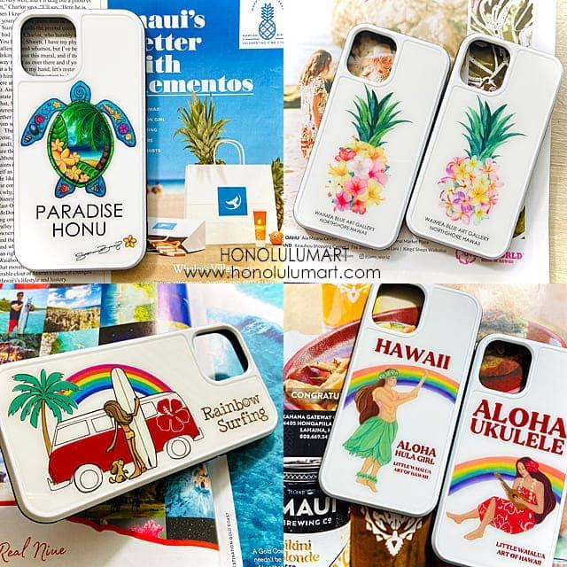 iPhone13ケース白(ハワイアン)